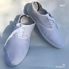 Mens White Plims Cedar Wood State Plimsolls Casual Trainers Lace Up Size UK 11