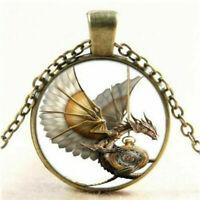 Vintage Steampunk Drachen Cabochon Glas Bronze Anhänger Halskette Damen Schmuck