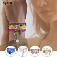 Multi Crystal Beads Charms Bracelet Fashion Elastic Beaded Bracelet Women Girl