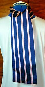 100% woven silk men's cravat/scarf  Pink/white stripes on navy blue  NEW