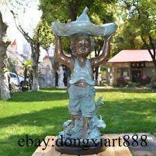 65 CM Western Bronze Europe Children Boy Urchin Lotus Leaf Art Deco Sculpture