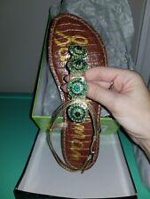 Sam Edelman Gold Green Sandals Swavorski Crystals Size 8.5