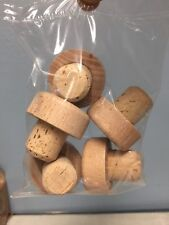 """5 Natural T-Corks With Wood Topper Flat Color / Small End 3/4"""""""