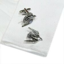 English Made Swooping Falcon Pewter Cufflinks (X2TSBCB15)