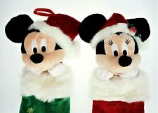 Mickey Mouse Minnie 2 Christmas Holiday Stockings Red Green Disney Plush Head
