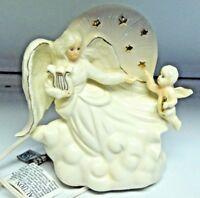 "White Ceramic  Angel With Cupid Figurine Night Light 7"""