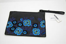 CHRISTOPHER KANE - Embroidered Leather Wristlet Clutch Black/Blue BNWT+dustbag