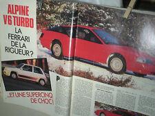 ESSAI ALPINE RENAULT V6 TURBO /L'AUTOMOBILE 02 1985