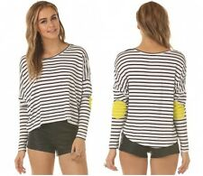 NEW Paradisco Striped Batwing Stretch Top M 12 Blouse Neon Elbow Patch Hi Lo