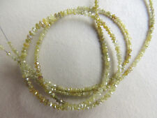 Natural 2 Beads Rough Faceted Diamond Beads Yellow Raw loose Diamond 3mm PU71