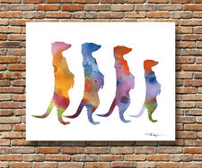 Meerkats Abstract Watercolor Wildlife Painting 11 x 14 Art Print by DJR