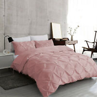 Dusky Pink Pintuck Duvet Cover 100% Egyptian Cotton Bedding Set Double King Size