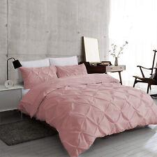 Dusky Pink Pintuck Duvet Cover 100% Egyptian Cotton Bedding Set Double King Size