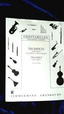 GRIFFTABELLEN TROMPETE in B und C Noten Flügelhorn Trompeten