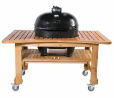 Primo 778 Extra-Large Oval Ceramic Charcoal Smoker Grill + Teak Table (NEW)