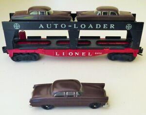 1954 LIONEL LINES TRAINS AUTO LOADER FLAT CAR THREE BROWN CARS No.6414 O GAUGE