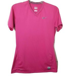 Nike Pro Women's S Pink V Neck Athletic T Shirt FITTED Short Sleeve Top