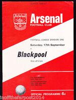 1966/67 ARSENAL V BLACKPOOL 17-09-1966 Division 1