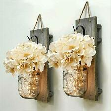 Mason Jar Wall Decor Sconces Rustic Hanging LED Fairy Lights Farmhouse Home New