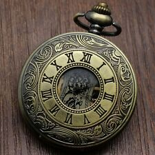 Hollow Bronze Roman Numerals Pattern Skeleton Hand Wind Mechanical Pocket Watch