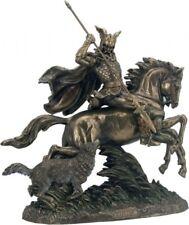 Göttervater Odin auf 8 füssigem Pferd Sleipnir mit Wolf bronziert Figur Veronese