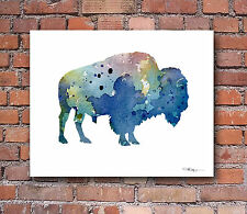 Buffalo Abstract Watercolor Painting Bison 11 x 14 Art Print by Artist DJ Rogers