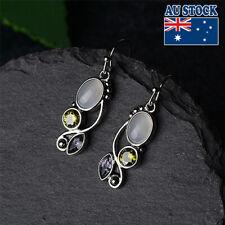 Vintage Boho 925 Silver Plated Moonstone Purple CZ Crystal Dangly Hook Earrings