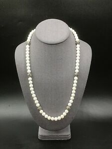 Carolyn Pollack Sterling White Agate Bead Necklace
