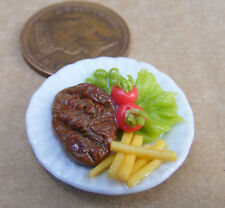 1:12 Scale Small Hand Made Steak & Chips On 2.5cm Ceramic Plate Dolls House Food