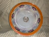 "Vintage Bavaria Germany China Luster ware Roses Decorated 9 1/4"" Serving Bowl"