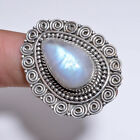 925 Solid Sterling Silver Ring Size US 6, Rainbow Moonstone Jewelry CR3040