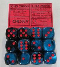 Chessex Gemini Signature Series Dice 16mm d6 Black Starlight Red CHX 26658