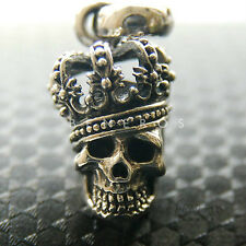 Small King Crown Skull Pendant 925 Sterling Silver Mens Biker Unisex Jewelry