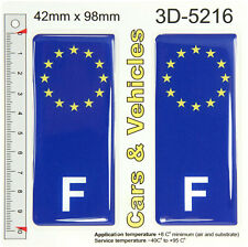 2 F France French euro stars Flag Blue Domed Number Plate Stickers Badges Decals