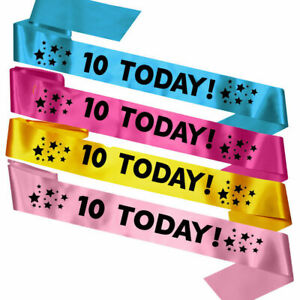 Childrens Kids 10 Today 10th Birthday Sash Badge Gift Present Bag Decorations