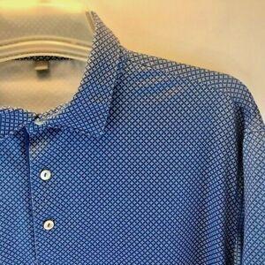 PETER MILLAR Men's Summer Comfort Blue Patterned Short Sleeve Polo Golf Shirt L
