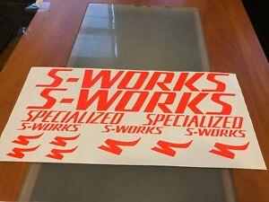 S-works neon orange decals stickers chrome specialized frame vinyl bike oil new