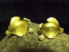ART DECO SIGNED B M CO. 1/20 12K GOLD FILLED LEAF AND PEARL EARRINGS