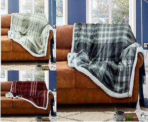 Wiltshire Check Flannel Sherpa Throws Super Soft Warm Cosy Sofa Bed Fleece Throw
