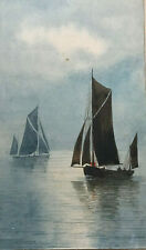 Original Stanley A Burchett Watercolour Seascape Painting , Signed, Sail Boats