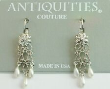1928 Jewelry Antiquities Couture Simulated Pearl Chandelier Earrings Made in USA