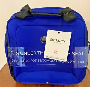 """DELSEY OPTIMAX UNDERSEATER ROLLING CARRY ON TOTE BLUE New With Tags 15"""""""