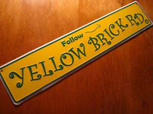 LARGE 2 FOOT FOLLOW YELLOW BRICK ROAD Arrow Street Sign Wizard of Oz Decor NEW