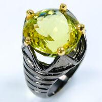 Natural Lemon Quartz 925 Sterling Silver Ring Size 8/RS18-0029
