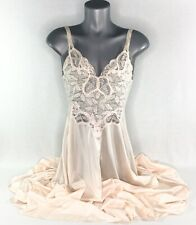 Vintage OLGA Peach Nightgown Womens M Nylon Lace Bodice Lingerie Made In USA