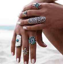 9pc Vintage Boho Tribal Ethnic Turquoise Hippie Gothic Geometry Finger Rings Set