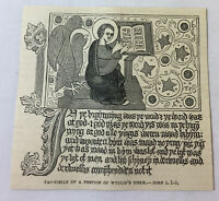 1885 magazine engraving ~ FACSIMILE OF PORTION OF WYCLIF'S BIBLE John Wycliffe