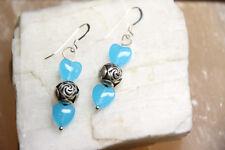 Quartz Blue Heart Shape Gemstone Earrings 925 Sterling Silver Hooks and Rosebuds