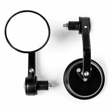 """Universal Motorcycle Mirrors Cafe Racer Black Bar End Mirrors 7/8"""" Hollow Bars"""