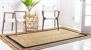 indian braided floor rugs handmade outdoor jute rugs with blue color boundary